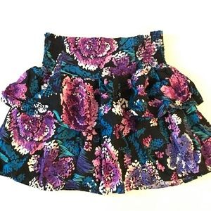 Women's Black and Purple Floral Ruffle Skirt